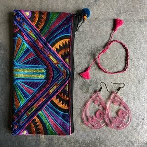 Deco embroidered cosmetic, travel, or coin bag